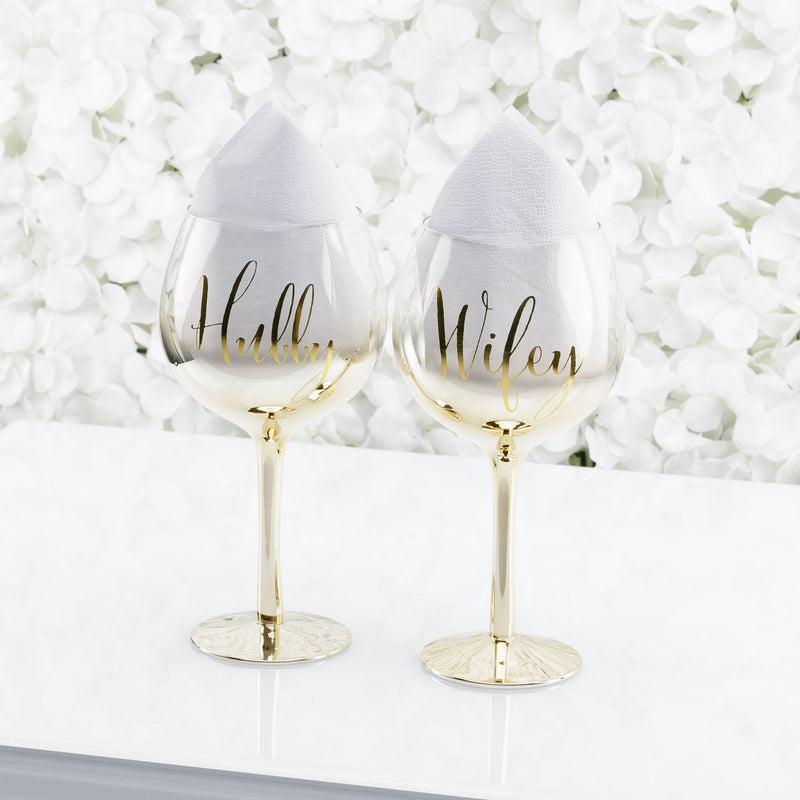 Always & Forever Set of 2 Gold Ombre Gin Glasses Hubby/Wifey