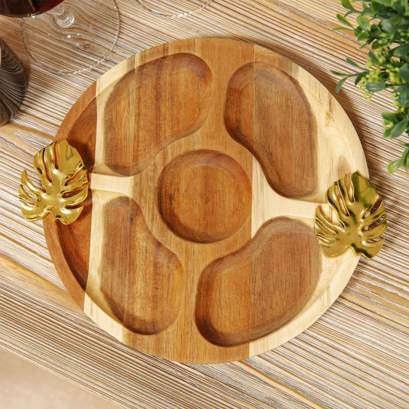 Round Acacia 5 Section Nibbles Board with Monstera Handles