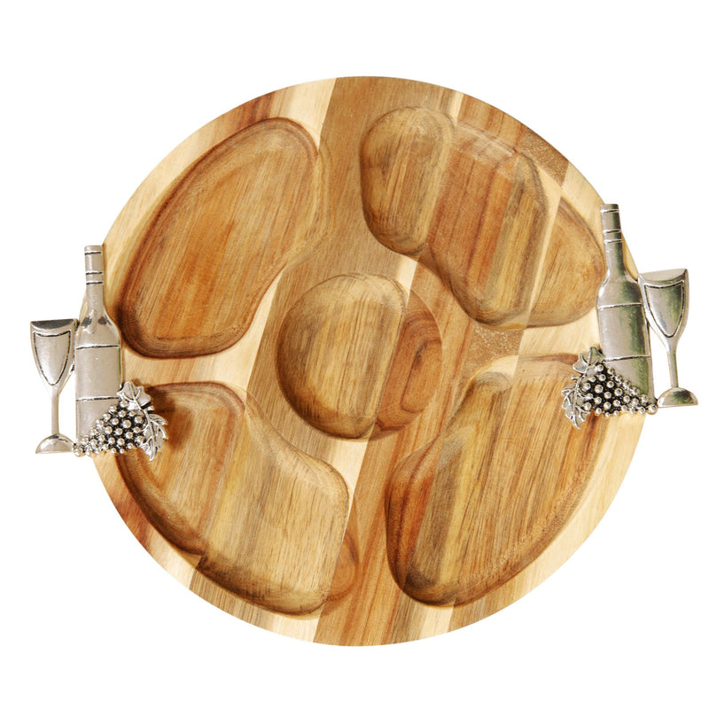 Round Acacia 5 Section Nibbles Board with Wine Handles