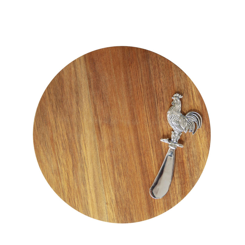 Acacia Cheese Board with Cockerel Spreader