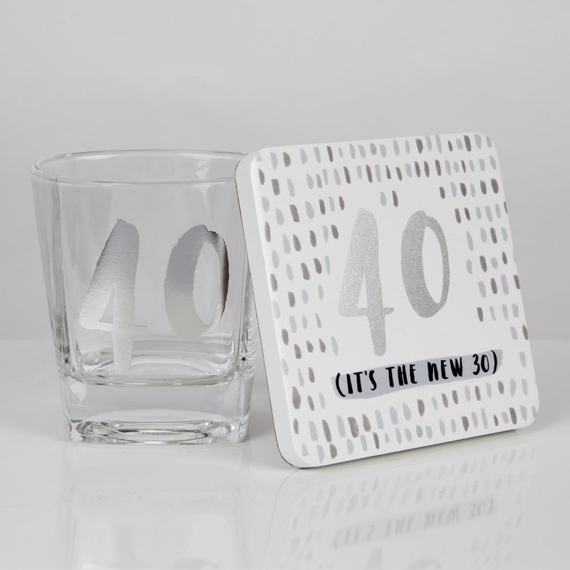 Luxe Whiskey Glass & Coaster Set - 40