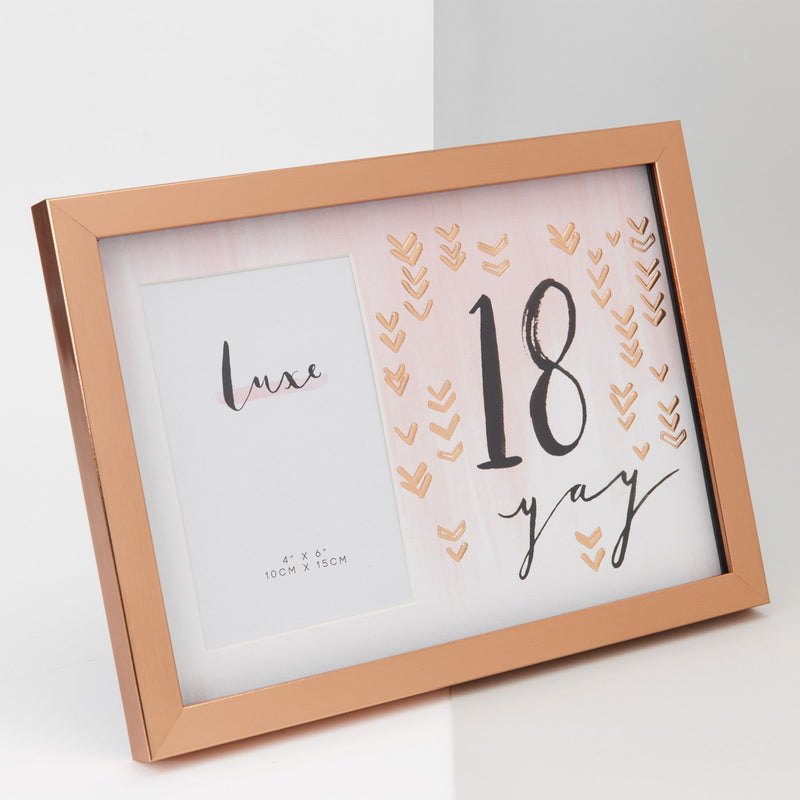 "4"" x 6"" - Luxe Rose Gold Birthday Frame - 18"