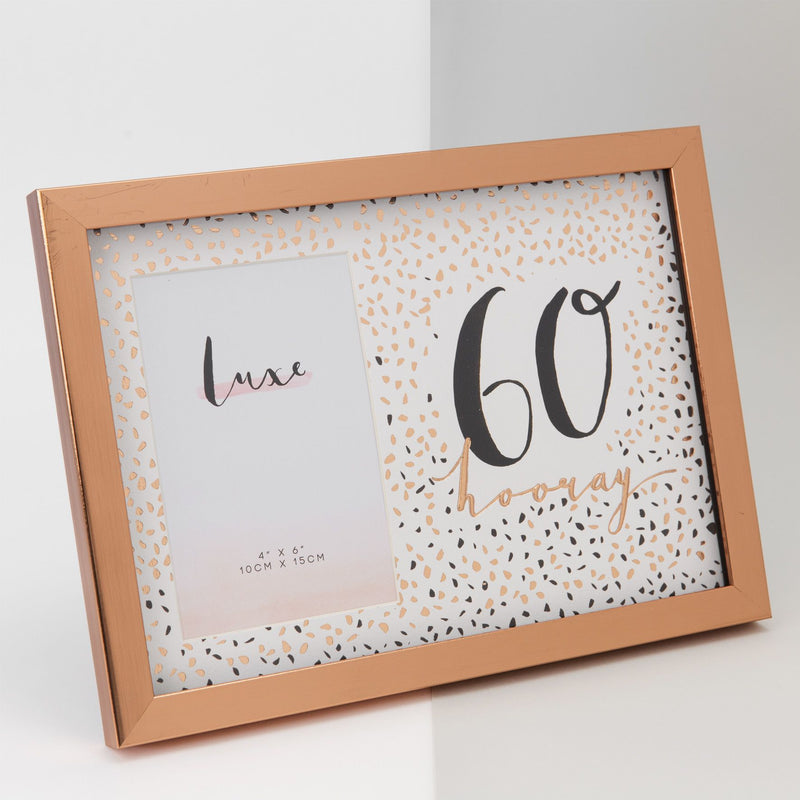 "4"" x 6"" - Luxe Rose Gold Birthday Frame - 60"