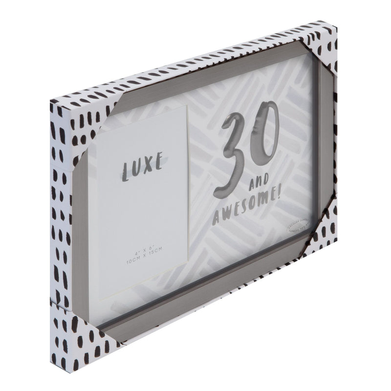 "4"" x 6"" - Luxe Male Gunmetal Birthday Frame - 30"