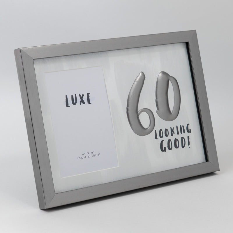"4"" x 6"" - Luxe Male Gunmetal Birthday Frame - 60"