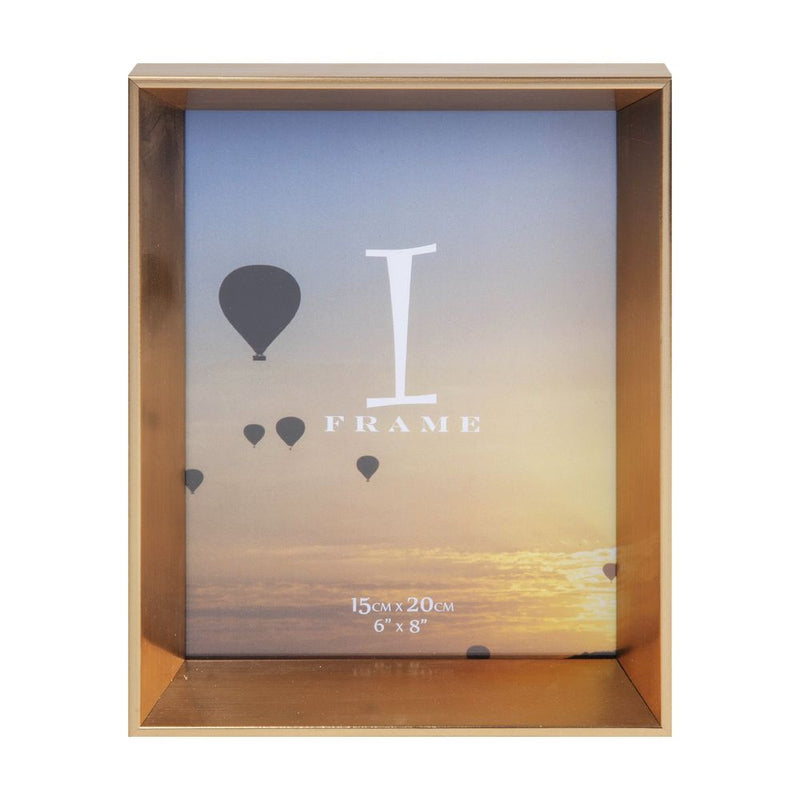 "6"" x 8"" - iFrame Gold Angled Box Photo Frame"