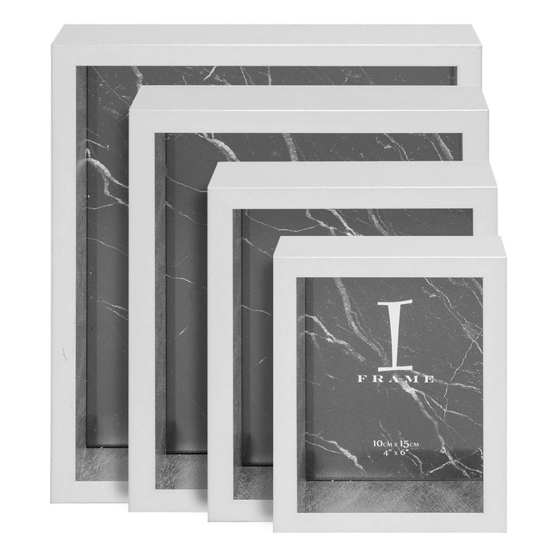 "5"" x 7"" - iFrame Silver & White Box Photo Frame"