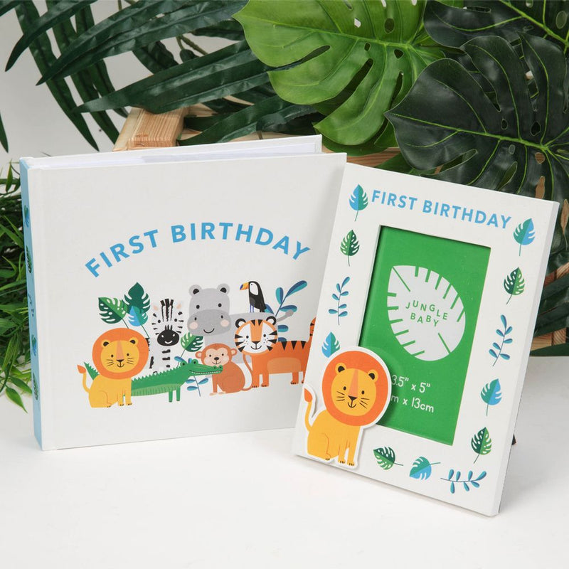 "4"" x 6"" Jungle Baby Paperwrap Album & Frame - First Birthday"