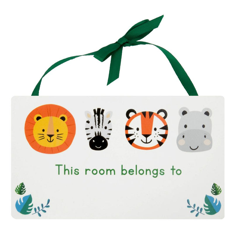 Jungle Baby Rectangle Hanging Plaque - This Room Belongs To