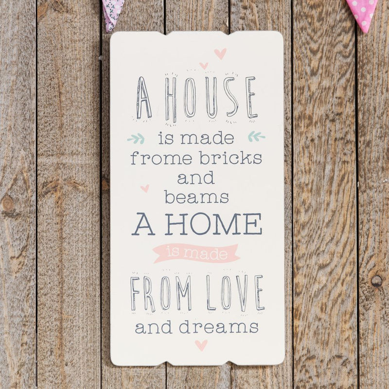Love Life Rectangular Plaque - A House Is Made From Bricks