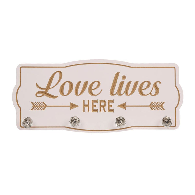 Love Life Wall Plaque with Hooks 'Love Lives Here'