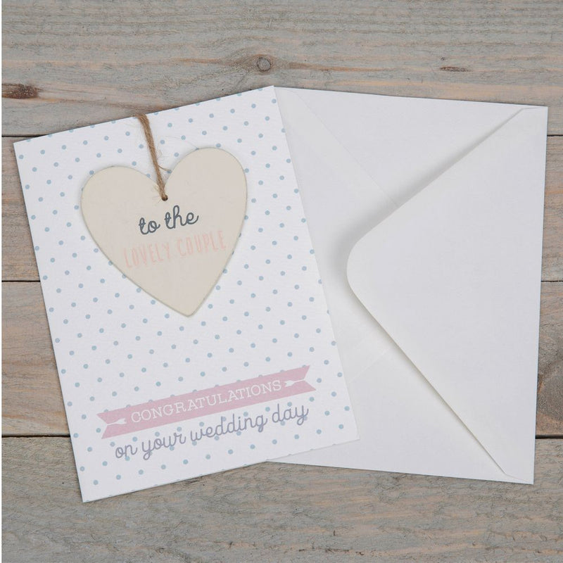 Greeting Card with Heart Plaque - Wedding Day