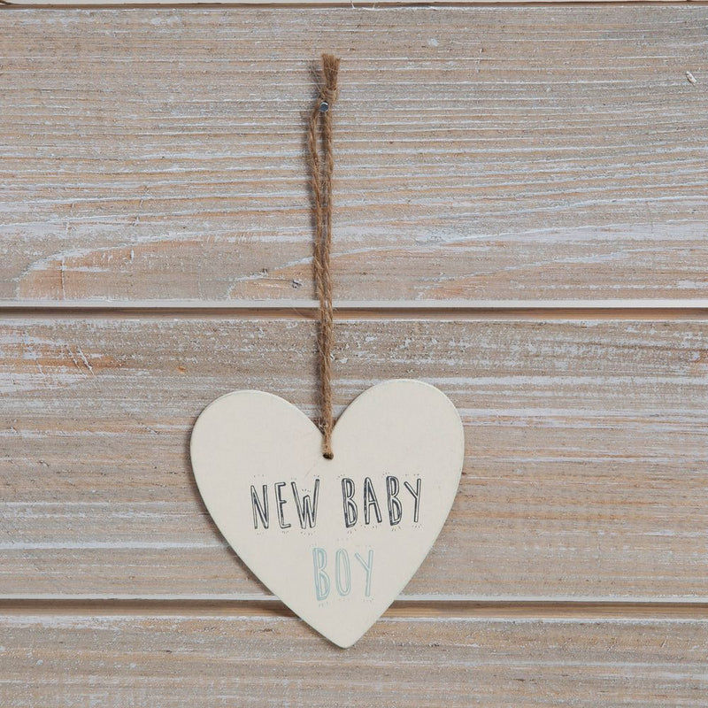 Greeting Card with Heart Plaque - New Baby Boy