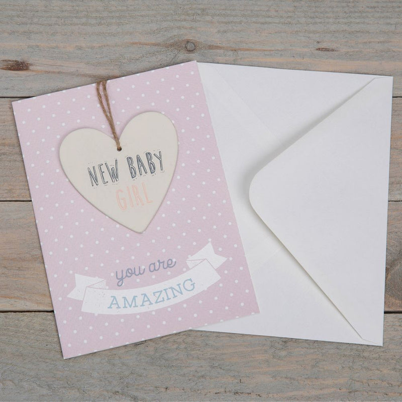Greeting Card with Heart Plaque - New Baby Girl