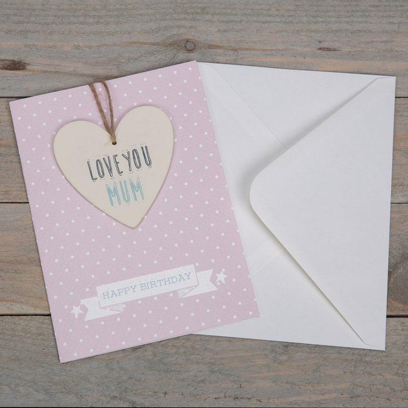 Greeting Card with Heart Plaque - Love You Mum