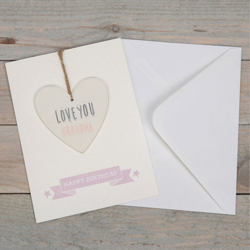 Greeting Card with Heart Plaque - Grandma