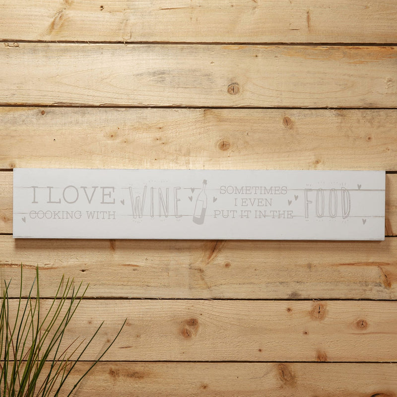 Love Life Giant Hanging Plaque - I Love Cooking With Wine