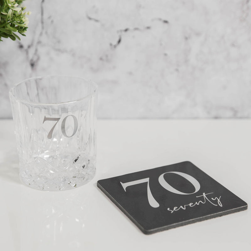 Milestones Cut Glass Whisky Tumbler & Coaster - 70