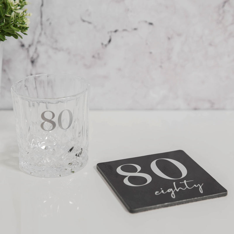 Milestones Cut Glass Whisky Tumbler & Coaster - 80