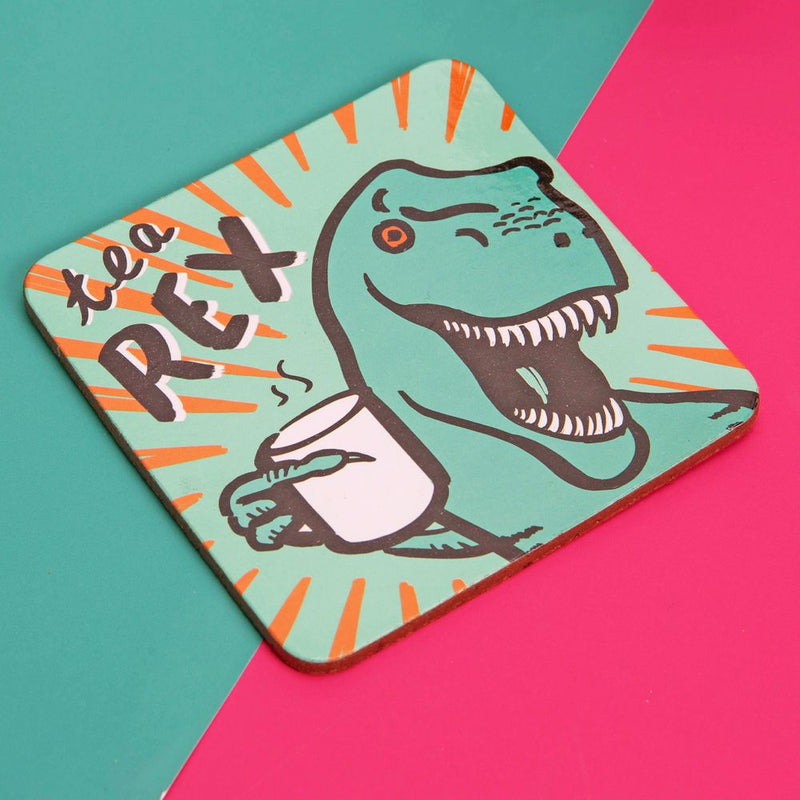 Neon Pop Mug & Coaster Set - Tea Rex