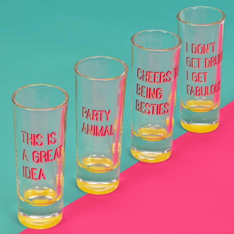 Neon Pop Set of 4 Shot Glasses Neon & Holographic Foiling
