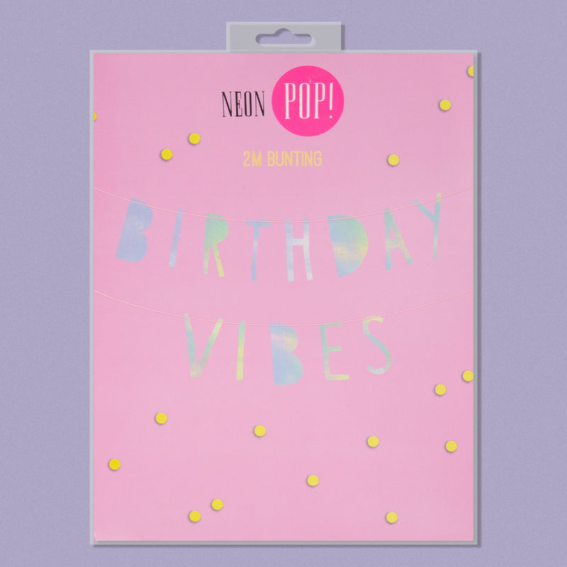 Neon Pop Bunting - 'Birthday Vibes'