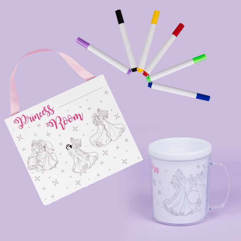 Disney Colour Me Princess Plaque & Mug Gift Set with Pens