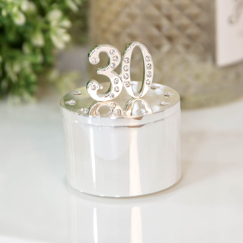 Milestones Silver Plated Trinket Box with Crystals - 30