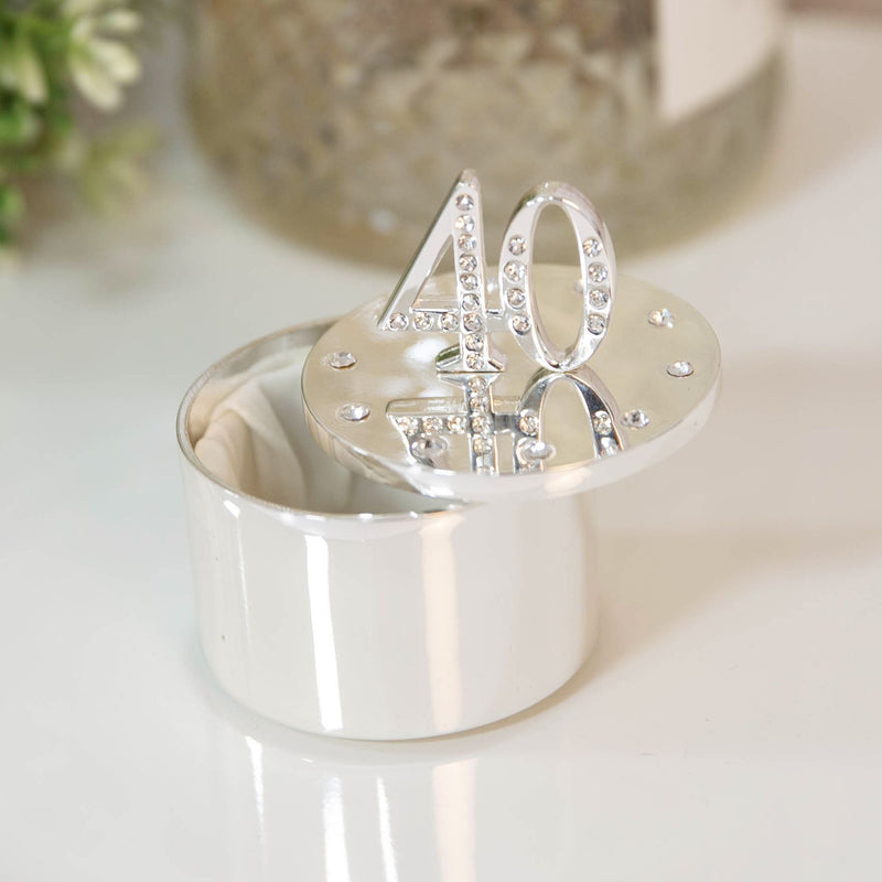 Milestones Silver Plated Trinket Box with Crystals - 40