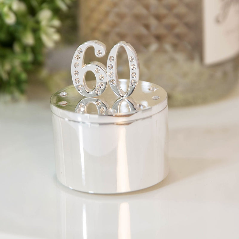 Milestones Silver Plated Trinket Box with Crystals - 60