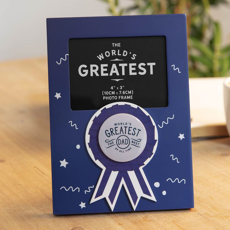 "4"" x 3"" - World's Greatest Dad Rosette Photo Frame"