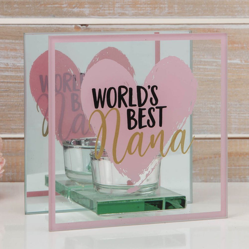 Glass Tealight Holder - World's Best Nana