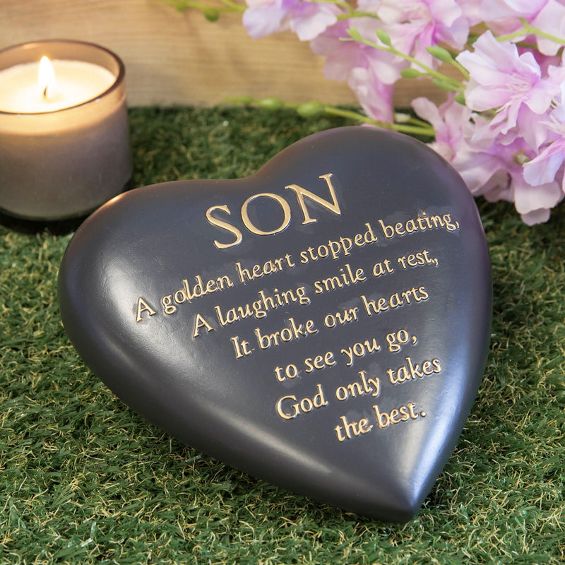 Thought Of You Graveside Dark Grey Heart Memorial - Son