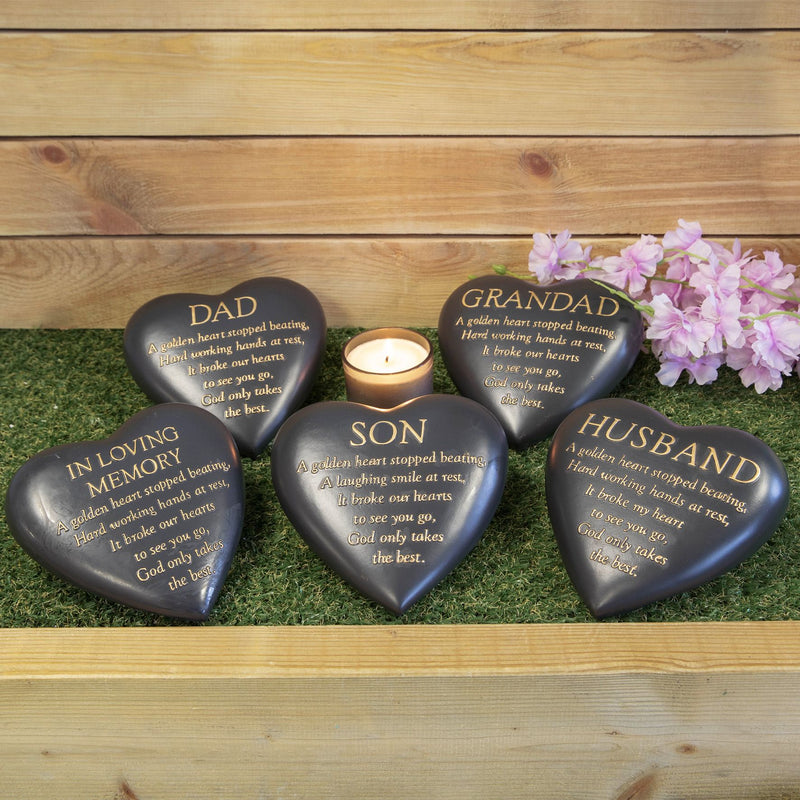 Thought Of You Graveside Dark Grey Heart Memorial - Husband