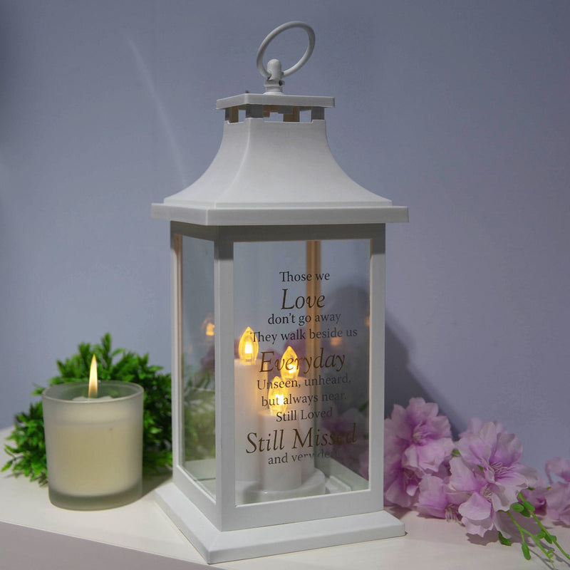 Thoughts of You White Memorial Lantern - Still Missed