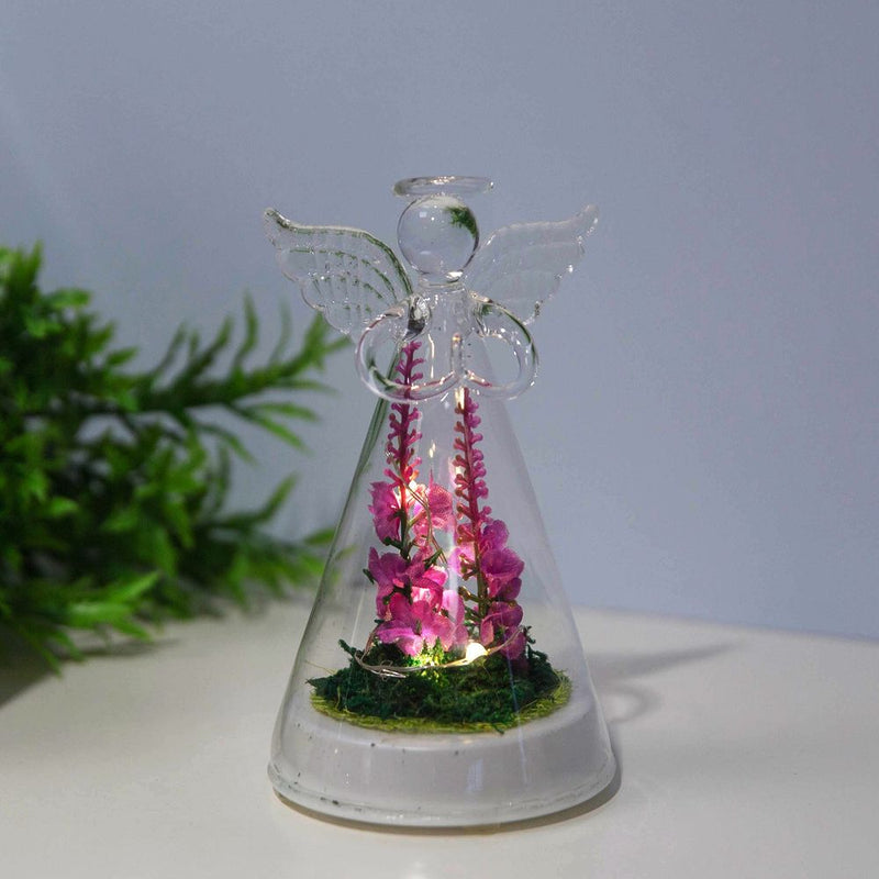LED Light Up Glass Angel with Artificial Flowers - Small