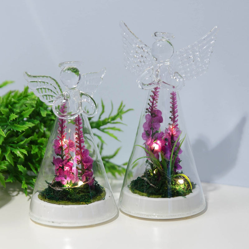 LED Light Up Glass Angel with Artificial Flowers - Large
