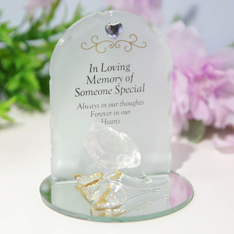 Thoughts Of You Glass Rose Ornament - Someone Special