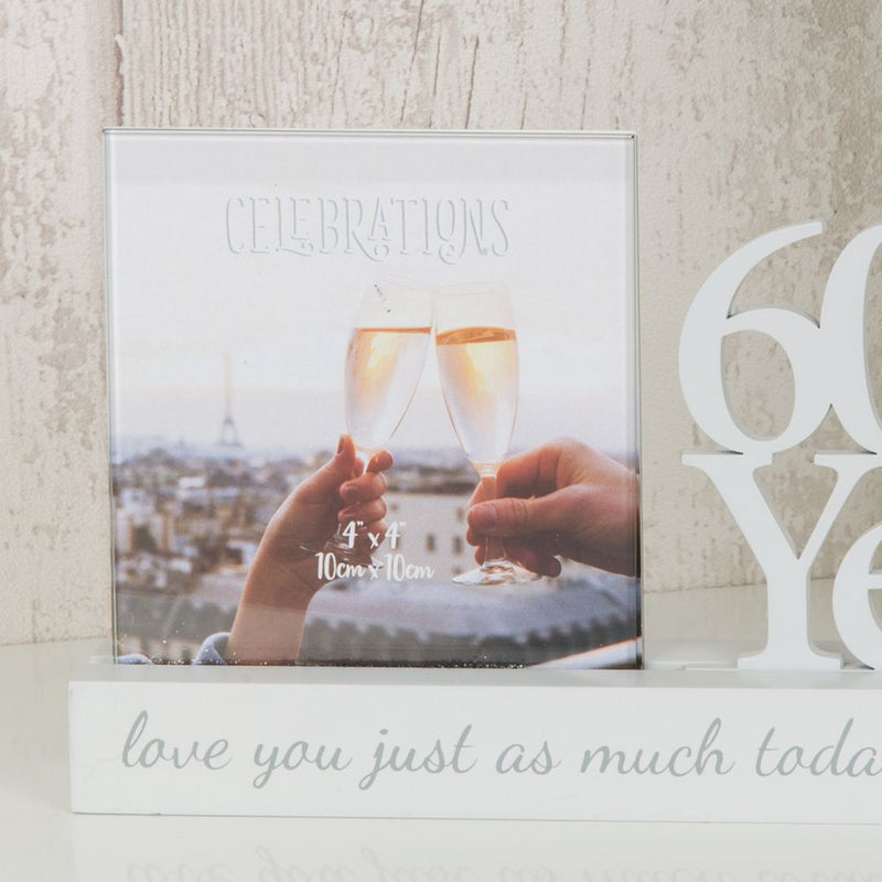 "4"" x 4"" - Celebrations Cut Out Photo Frame - 60 Years"