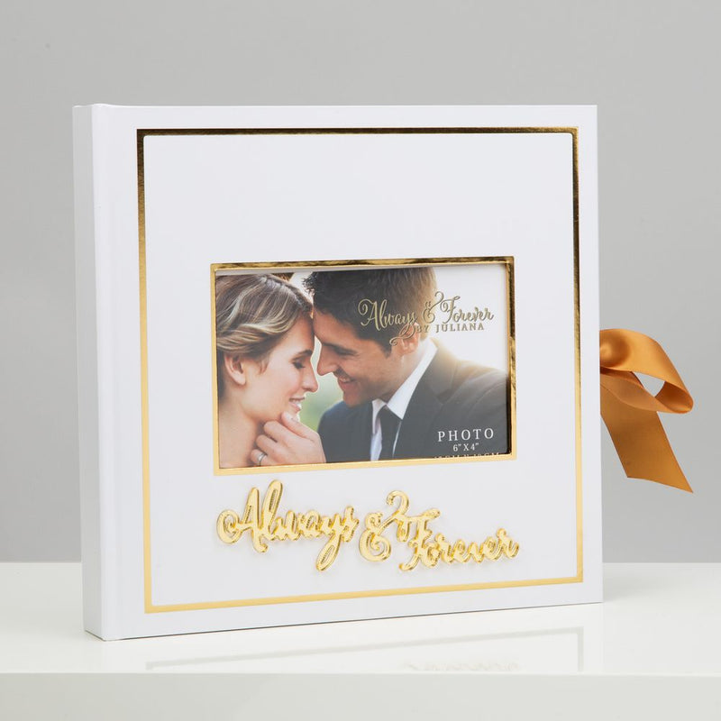 "Always & Forever Gold Foil Scrap Book 6""x4"" Cover Aperture"
