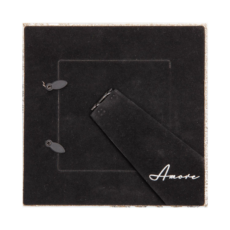 "4"" x 4"" - AMORE BY JULIANA® Grey Glass Gold Floral Frame"