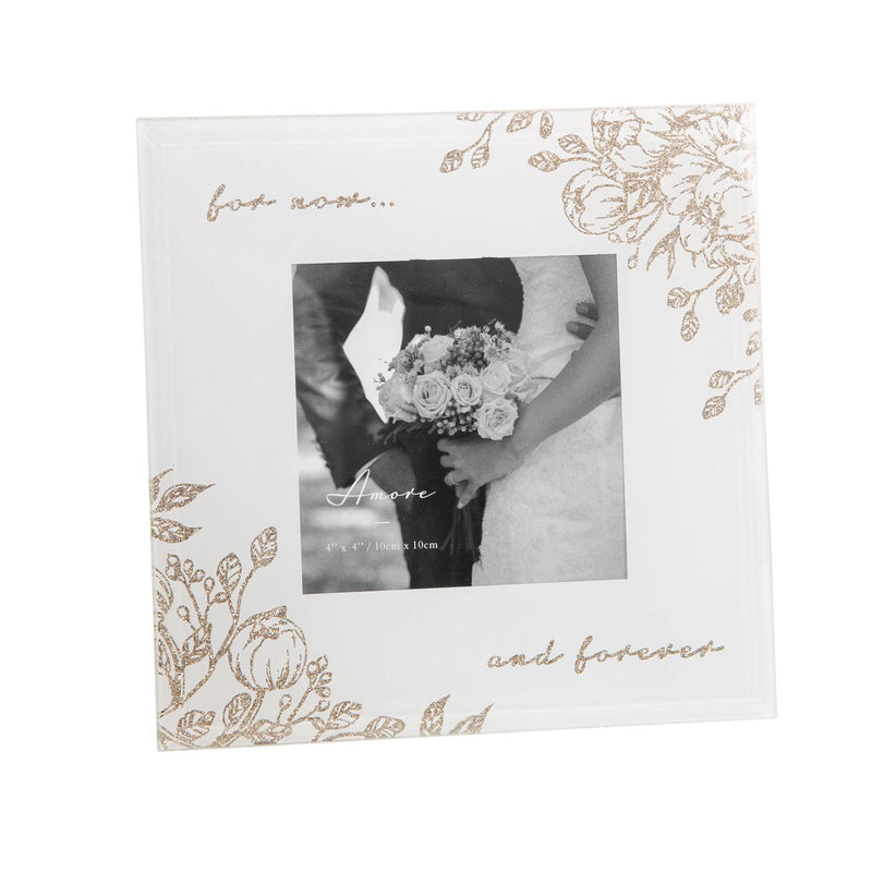 "4"" x 4"" - AMORE BY JULIANA® Glass Floral Frame - Forever"