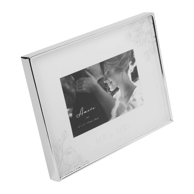 "6"" x 4"" - AMORE BY JULIANA® Silver Floral Frame - Mr & Mrs"