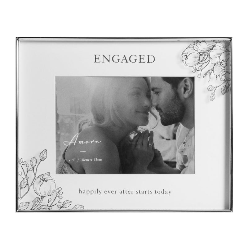 "7"" x 5"" - AMORE BY JULIANA® Floral Frame - Engaged Happily"