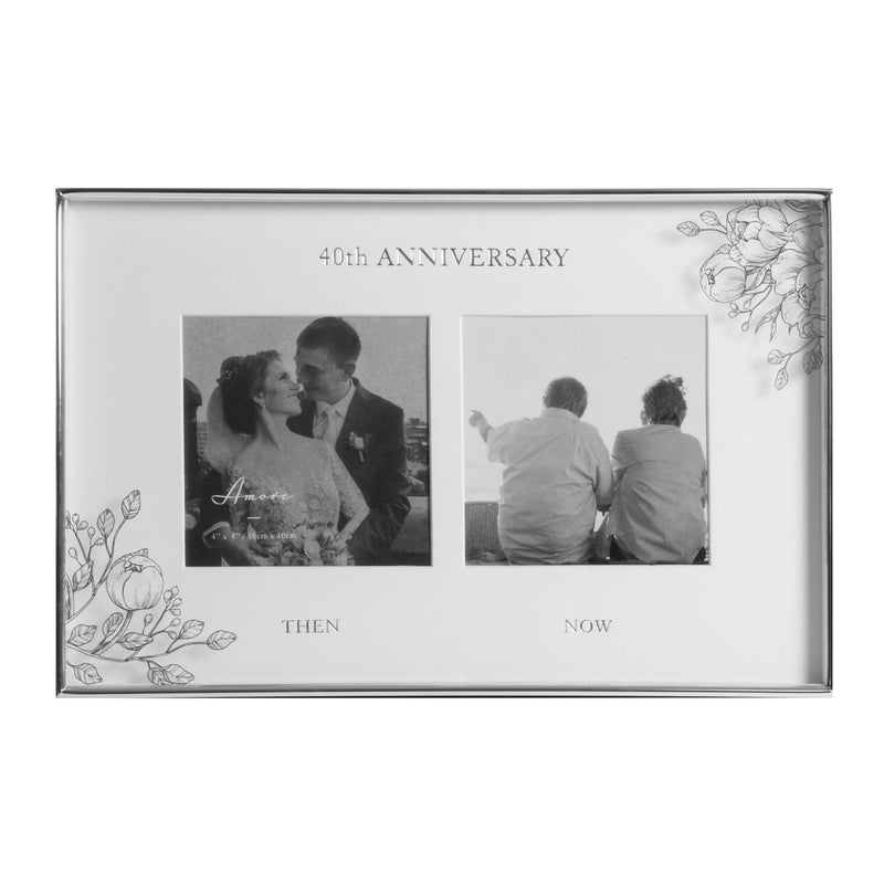 "4"" x 4"" - AMORE BY JULIANA® Floral Double Frame - 40 Years"