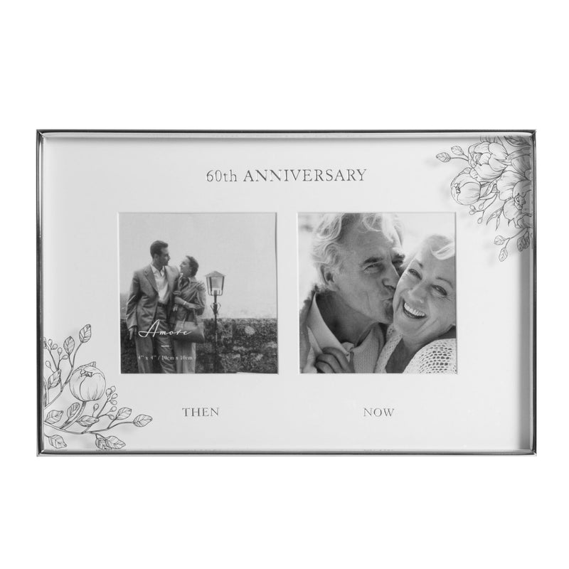 "4"" x 4"" - AMORE BY JULIANA® Floral Double Frame - 60 Years"