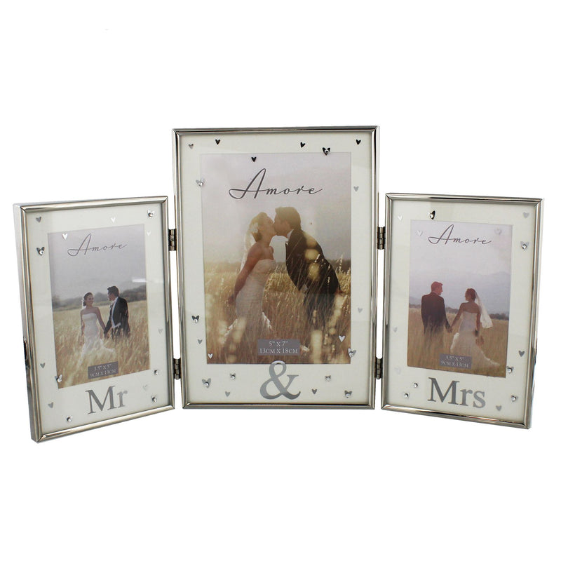 AMORE BY JULIANA® Silver Plated Triple Photo Frame - Mr & Mr
