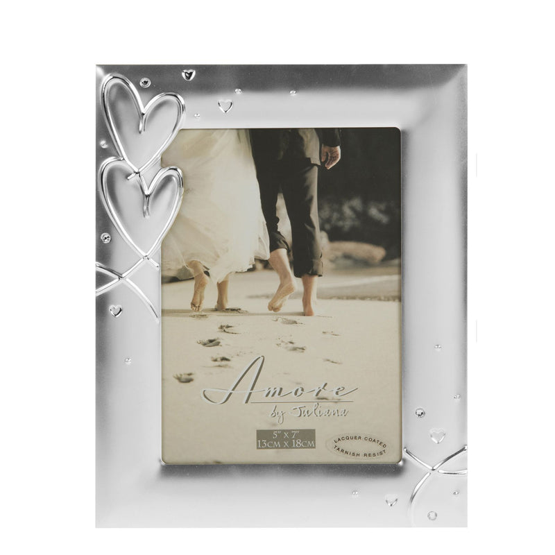 "5"" x 7"" - AMORE BY JULIANA® Silverplated Photo Frame"