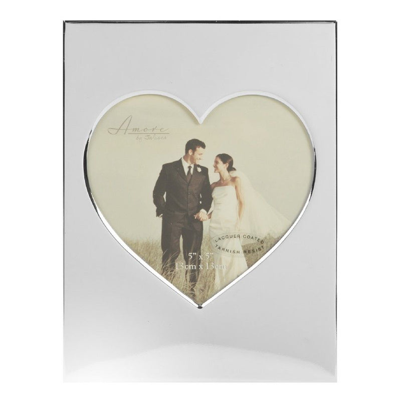"5"" x 5"" - AMORE BY JULIANA® Silver Plated Heart Photo Frame"