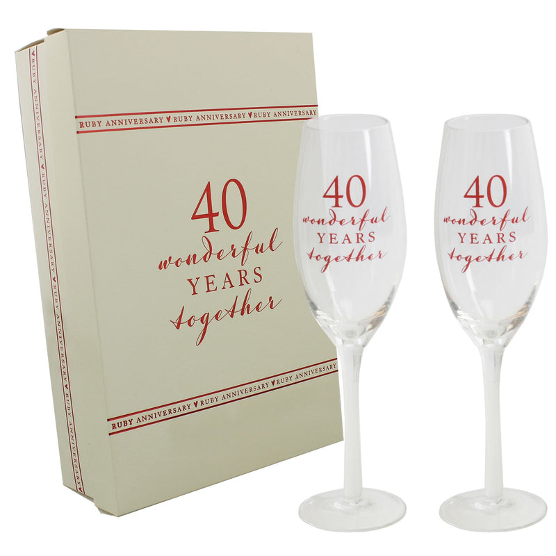 AMORE BY JULIANA® Champagne Flute Set - 40th Anniversary